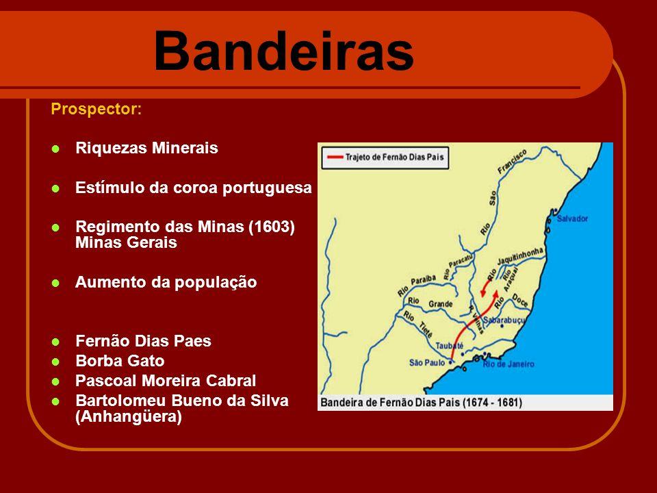 Bandeiras Prospector: Riquezas Minerais Estímulo da coroa portuguesa