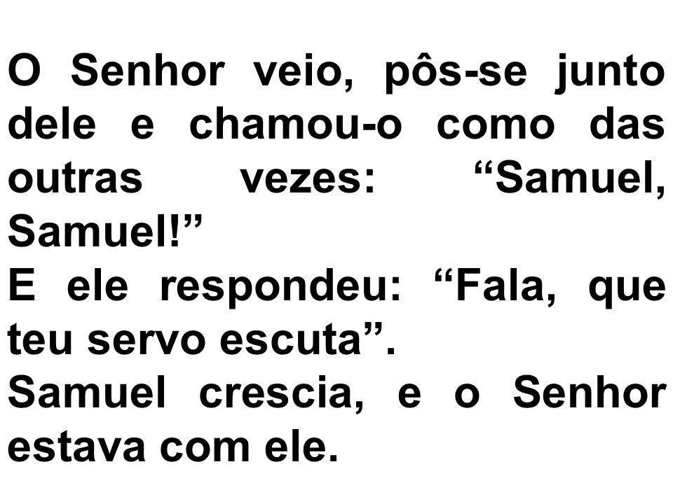 O Senhor veio, pôs-se junto dele e chamou-o como das outras vezes: Samuel, Samuel!