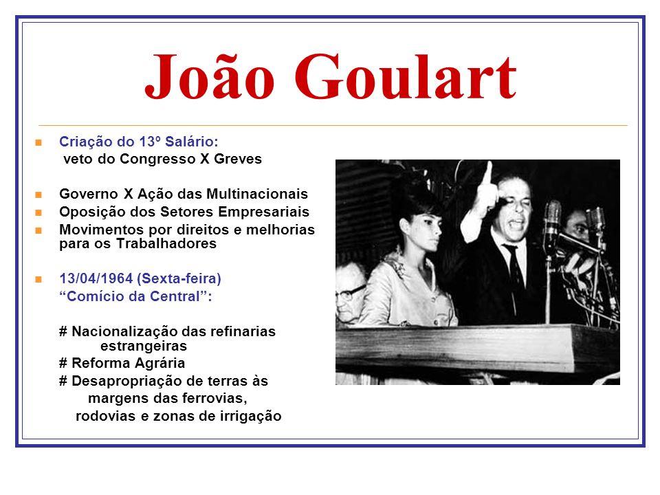 João Goulart Criação do 13º Salário: veto do Congresso X Greves