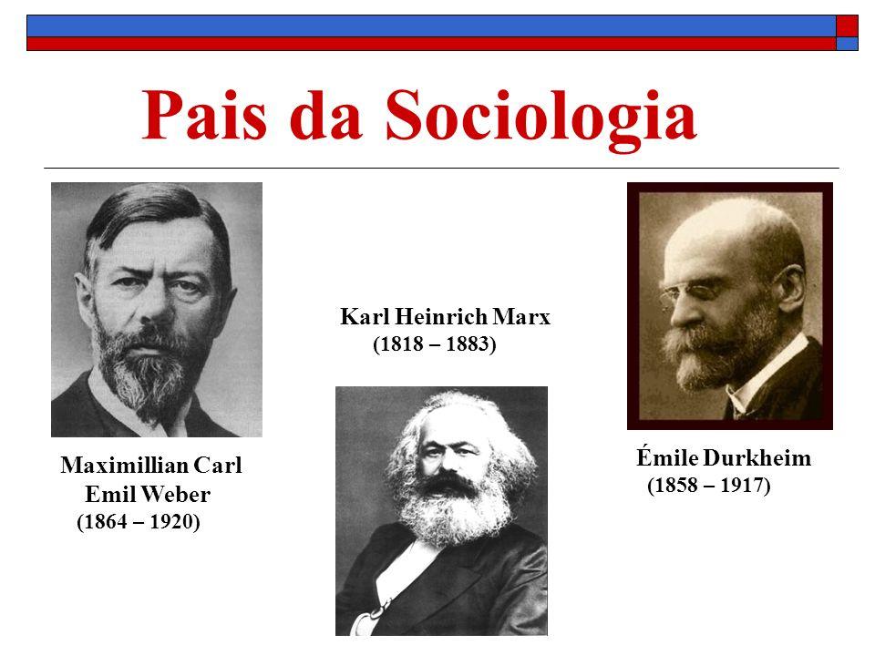 Pais da Sociologia Karl Heinrich Marx Émile Durkheim Maximillian Carl