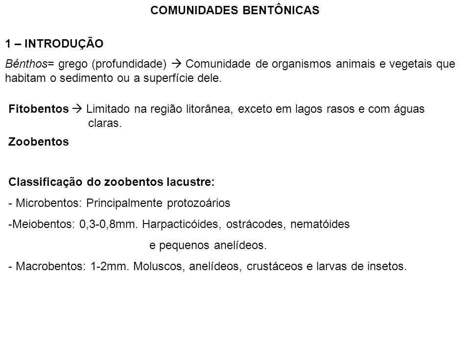 COMUNIDADES BENTÔNICAS
