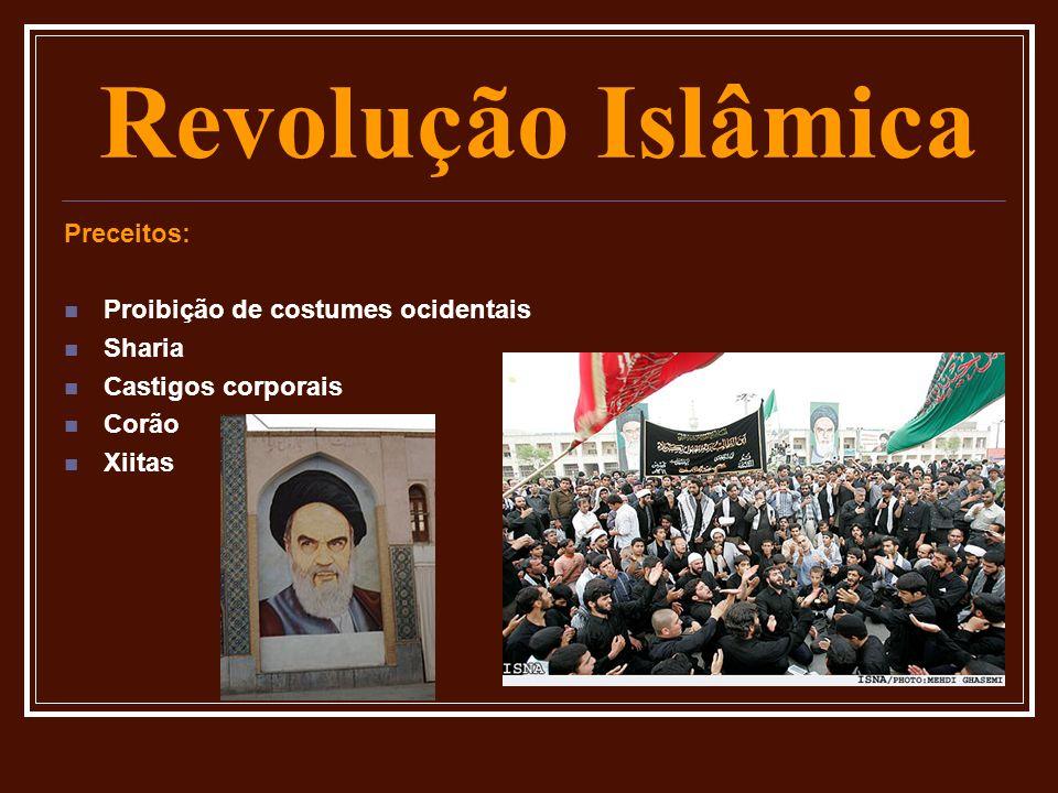 Revolução Islâmica Preceitos: Proibição de costumes ocidentais Sharia