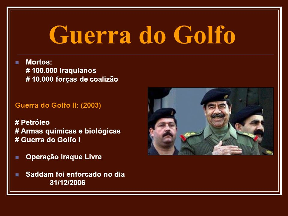 Guerra do Golfo Mortos: # 100.000 iraquianos