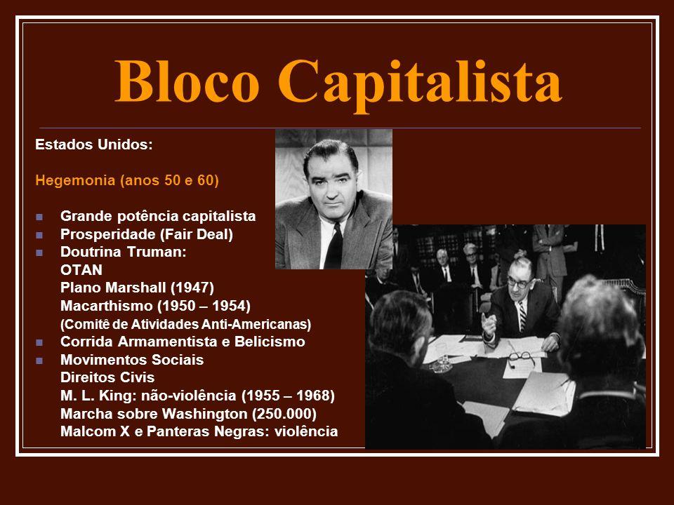 Bloco Capitalista Estados Unidos: Hegemonia (anos 50 e 60)