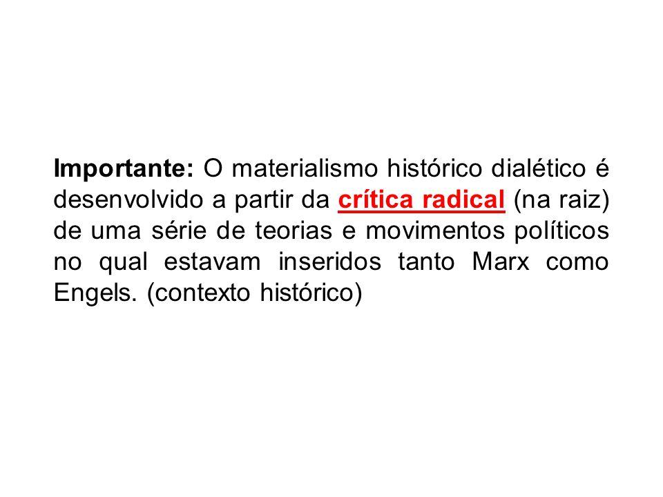Importante: O materialismo histórico dialético é desenvolvido a partir da crítica radical (na raiz) de uma série de teorias e movimentos políticos no qual estavam inseridos tanto Marx como Engels.