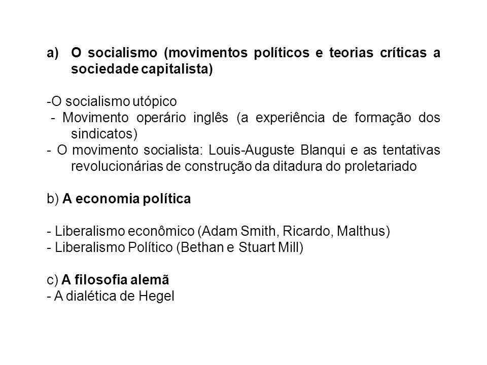 O socialismo (movimentos políticos e teorias críticas a sociedade capitalista)