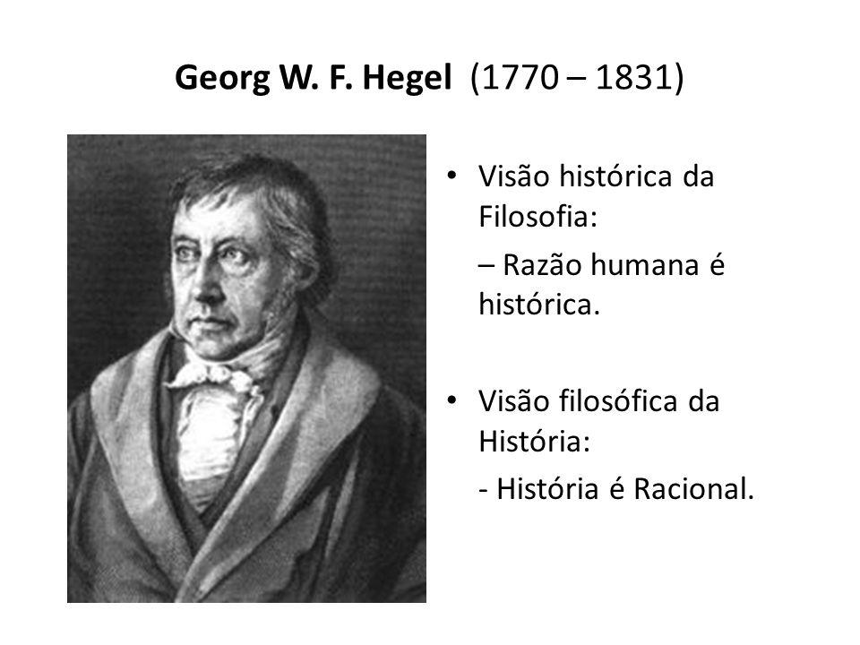 Georg W. F. Hegel (1770 – 1831) Visão histórica da Filosofia: