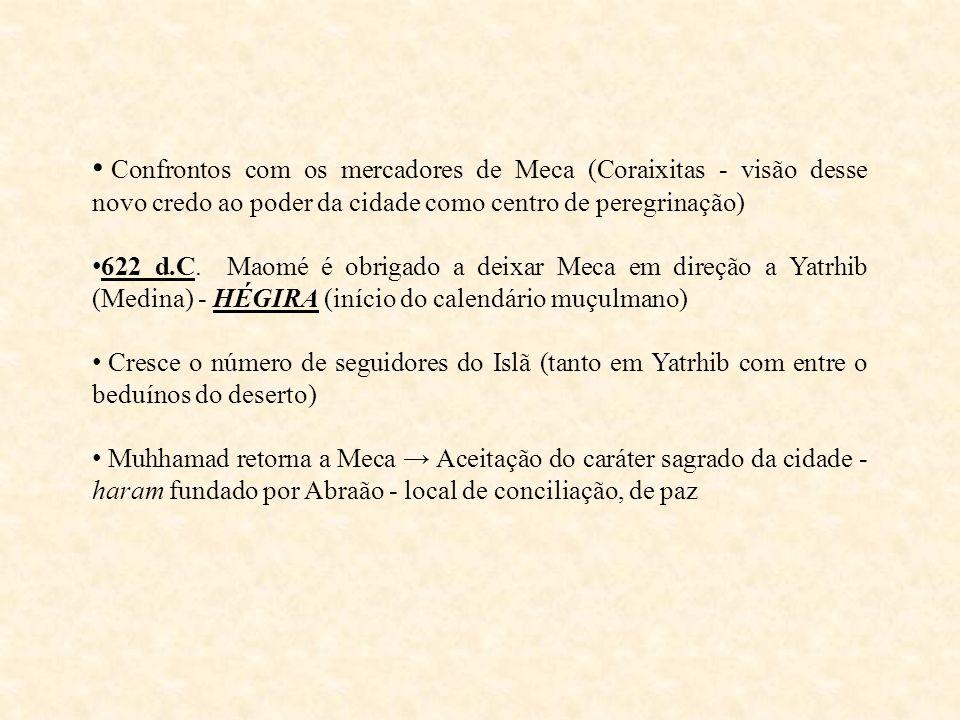 Confrontos com os mercadores de Meca (Coraixitas - visão desse novo credo ao poder da cidade como centro de peregrinação)