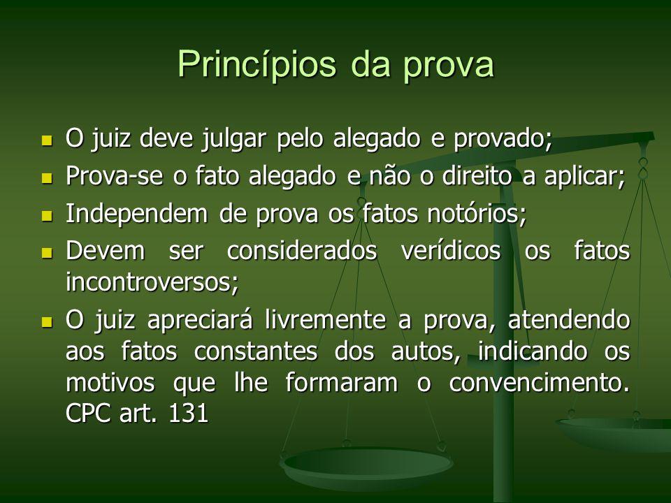 Princípios da prova O juiz deve julgar pelo alegado e provado;