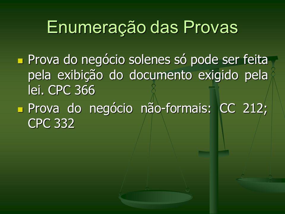 Enumeração das ProvasProva do negócio solenes só pode ser feita pela exibição do documento exigido pela lei. CPC 366.
