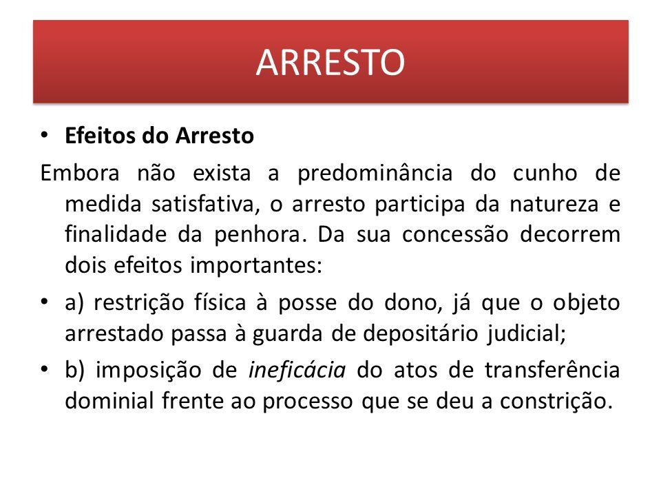 ARRESTO Efeitos do Arresto