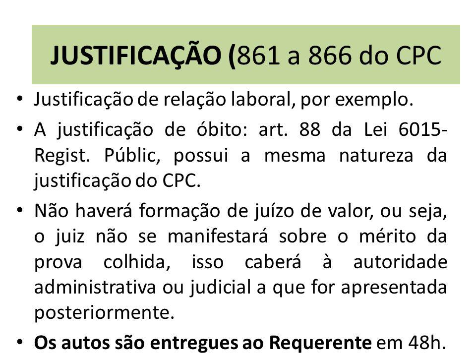 JUSTIFICAÇÃO (861 a 866 do CPC Justificação de relação laboral, por exemplo.