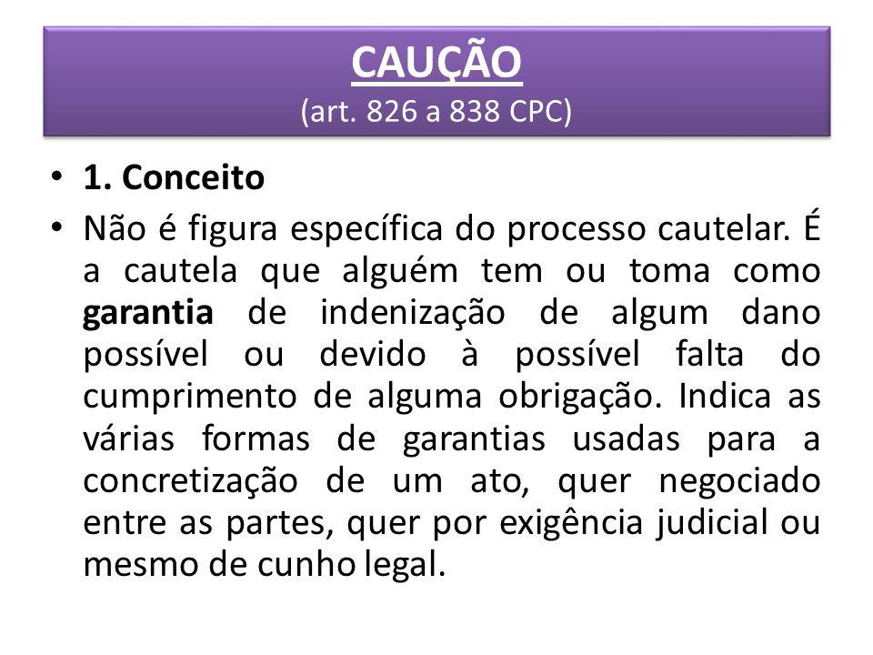 CAUÇÃO (art. 826 a 838 CPC) 1. Conceito