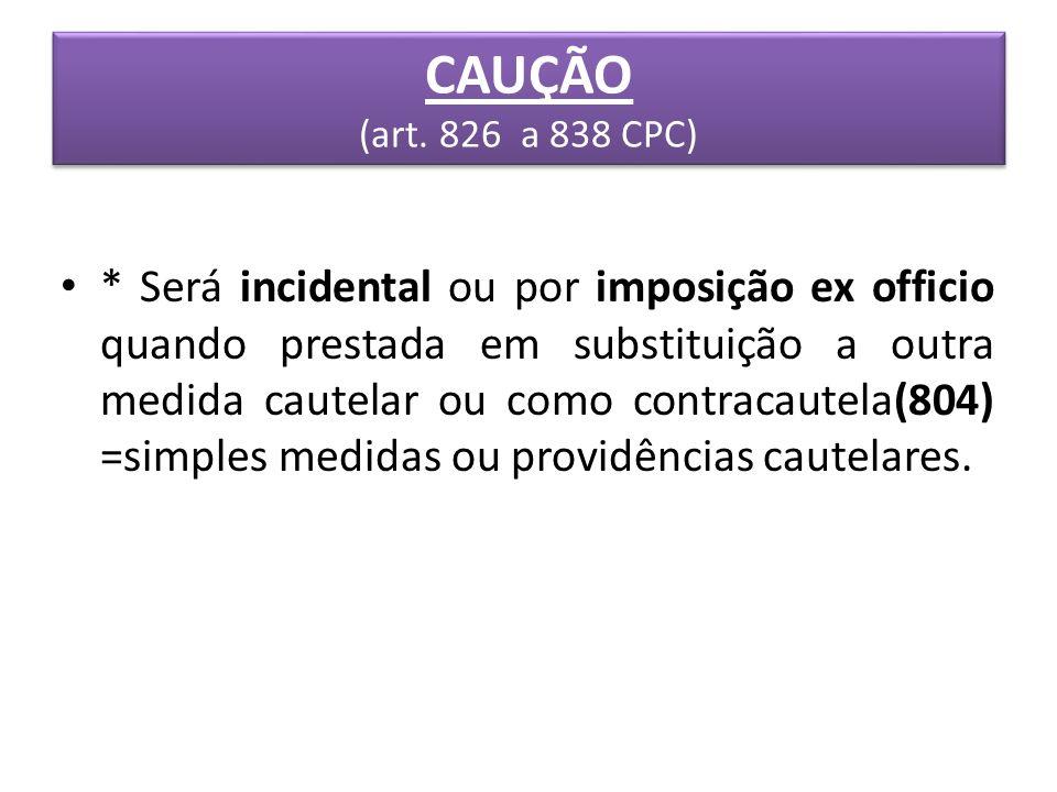 CAUÇÃO (art. 826 a 838 CPC)