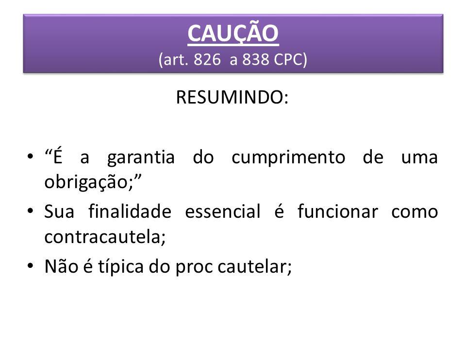 CAUÇÃO (art. 826 a 838 CPC) RESUMINDO: