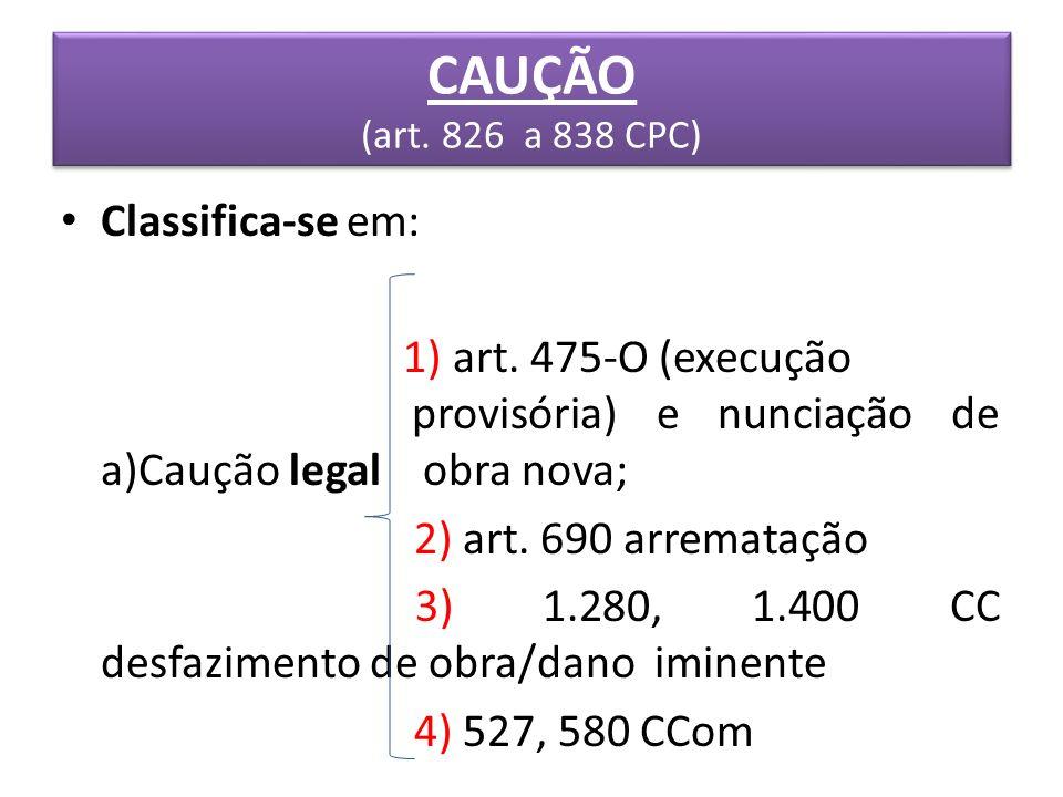 CAUÇÃO (art. 826 a 838 CPC) Classifica-se em:
