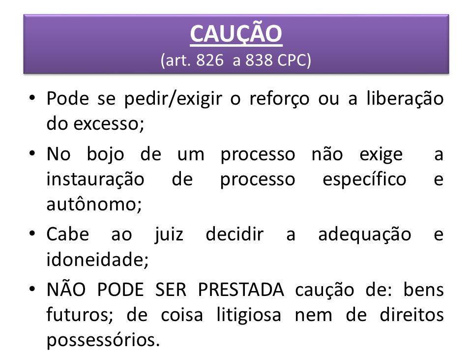 CAUÇÃO (art. 826 a 838 CPC) Pode se pedir/exigir o reforço ou a liberação do excesso;