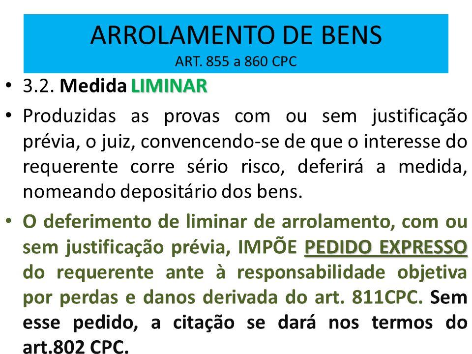ARROLAMENTO DE BENS ART. 855 a 860 CPC