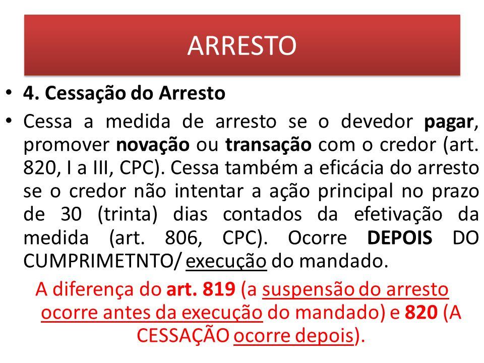 ARRESTO 4. Cessação do Arresto
