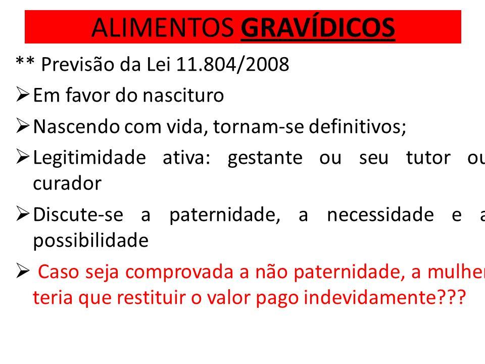 ALIMENTOS GRAVÍDICOS ** Previsão da Lei 11.804/2008