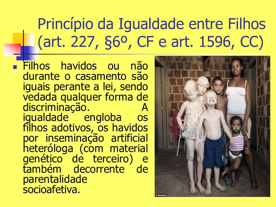 Princípio da Igualdade entre Filhos (art. 227, §6º, CF e art. 1596, CC)