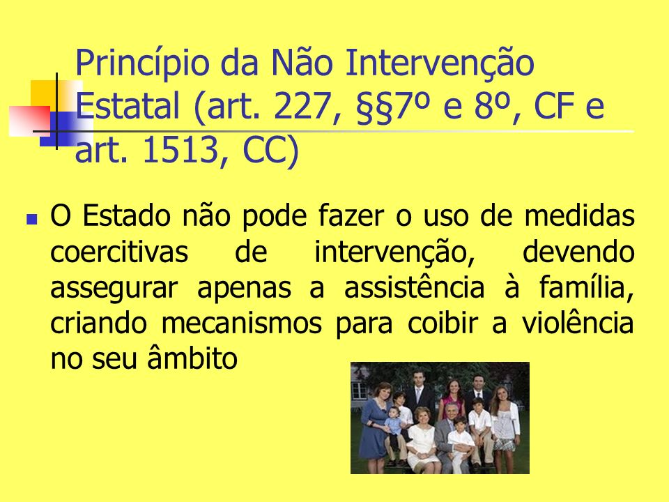 Princípio da Não Intervenção Estatal (art. 227, §§7º e 8º, CF e art