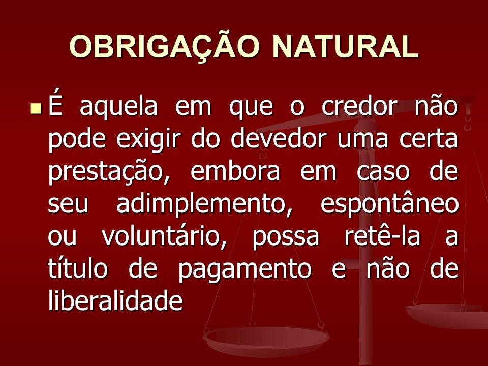 OBRIGAÇÃO NATURAL