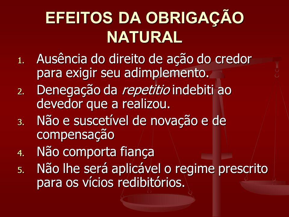 EFEITOS DA OBRIGAÇÃO NATURAL