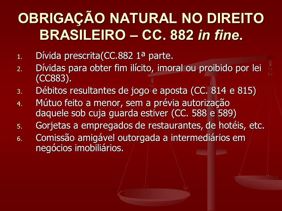 OBRIGAÇÃO NATURAL NO DIREITO BRASILEIRO – CC. 882 in fine.