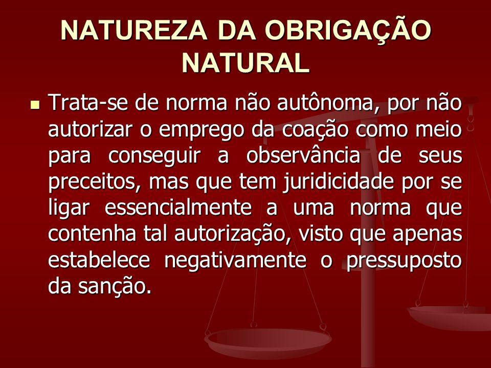 NATUREZA DA OBRIGAÇÃO NATURAL