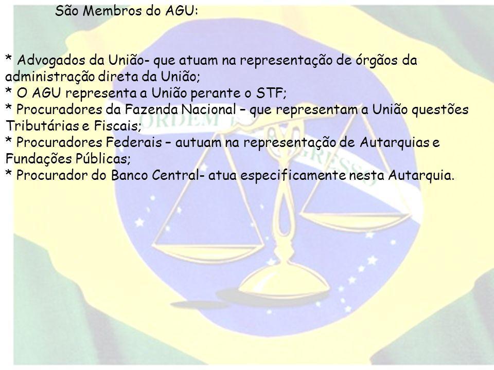 * O AGU representa a União perante o STF;