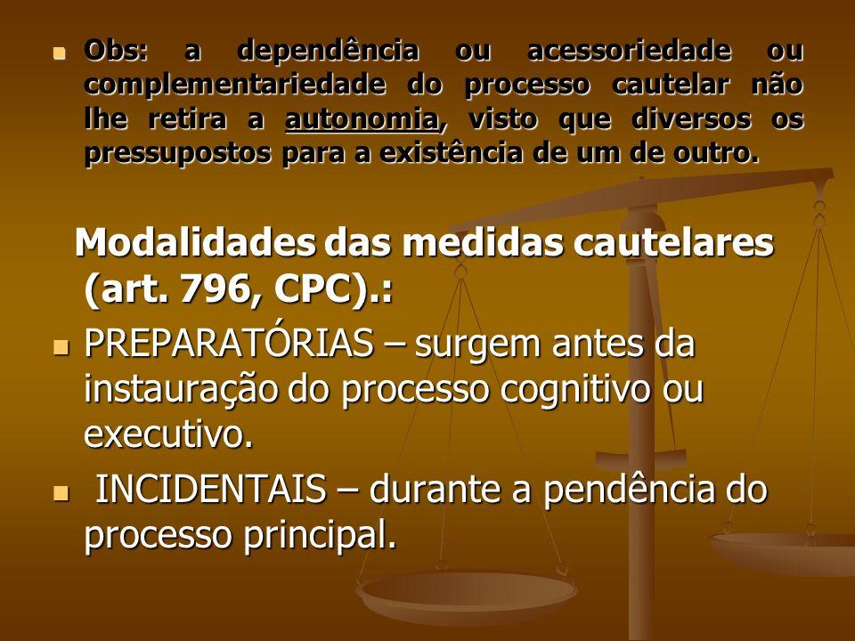 Modalidades das medidas cautelares (art. 796, CPC).: