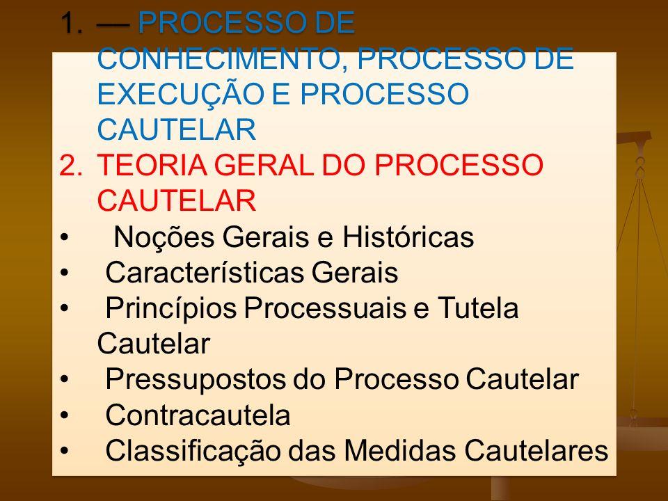 –– PROCESSO DE CONHECIMENTO, PROCESSO DE EXECUÇÃO E PROCESSO CAUTELAR