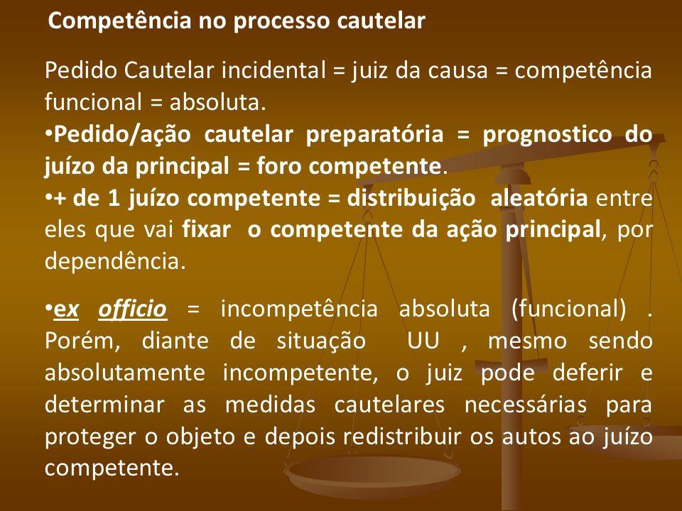 Competência no processo cautelar