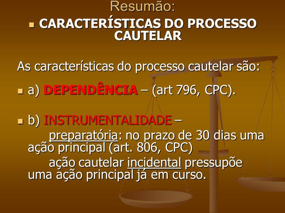 CARACTERÍSTICAS DO PROCESSO CAUTELAR
