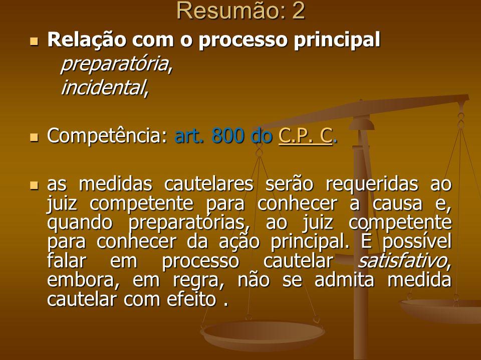 Resumão: 2 Relação com o processo principal preparatória, incidental,