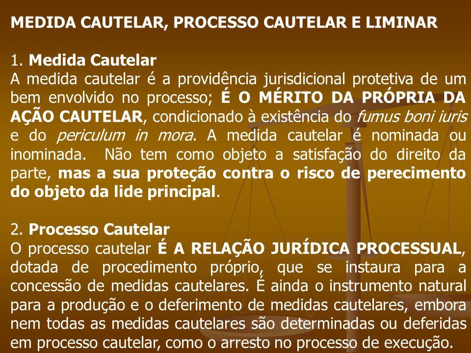 MEDIDA CAUTELAR, PROCESSO CAUTELAR E LIMINAR