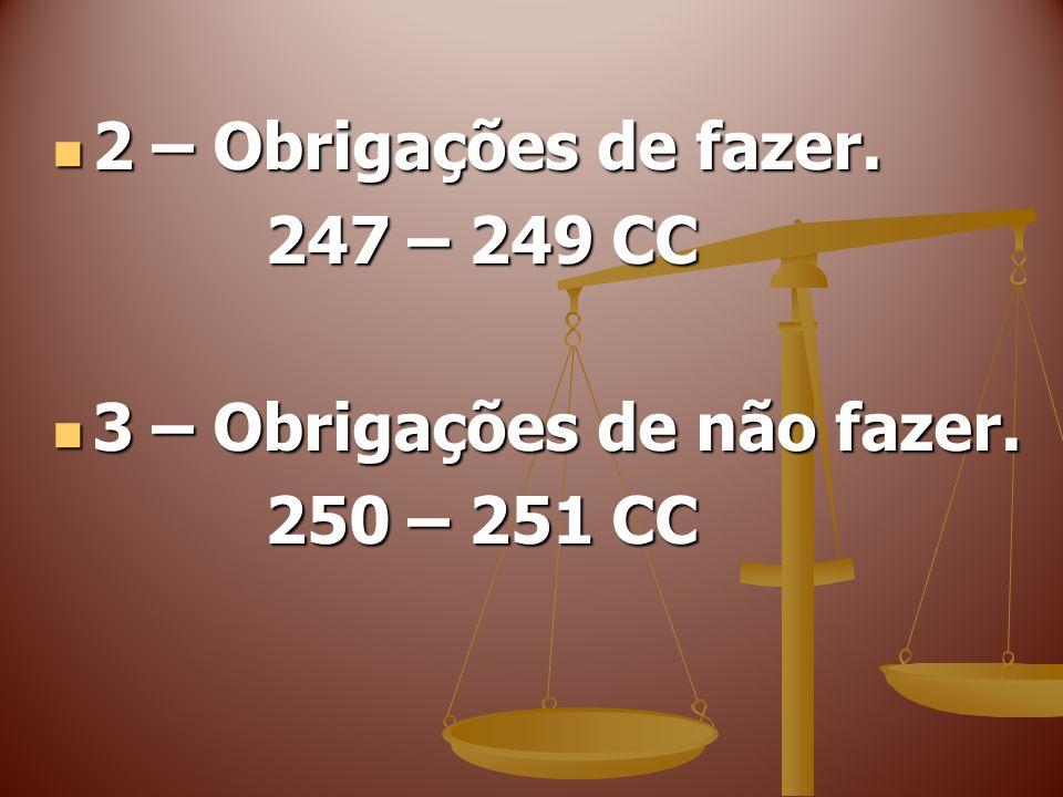 2 – Obrigações de fazer. 247 – 249 CC 3 – Obrigações de não fazer. 250 – 251 CC