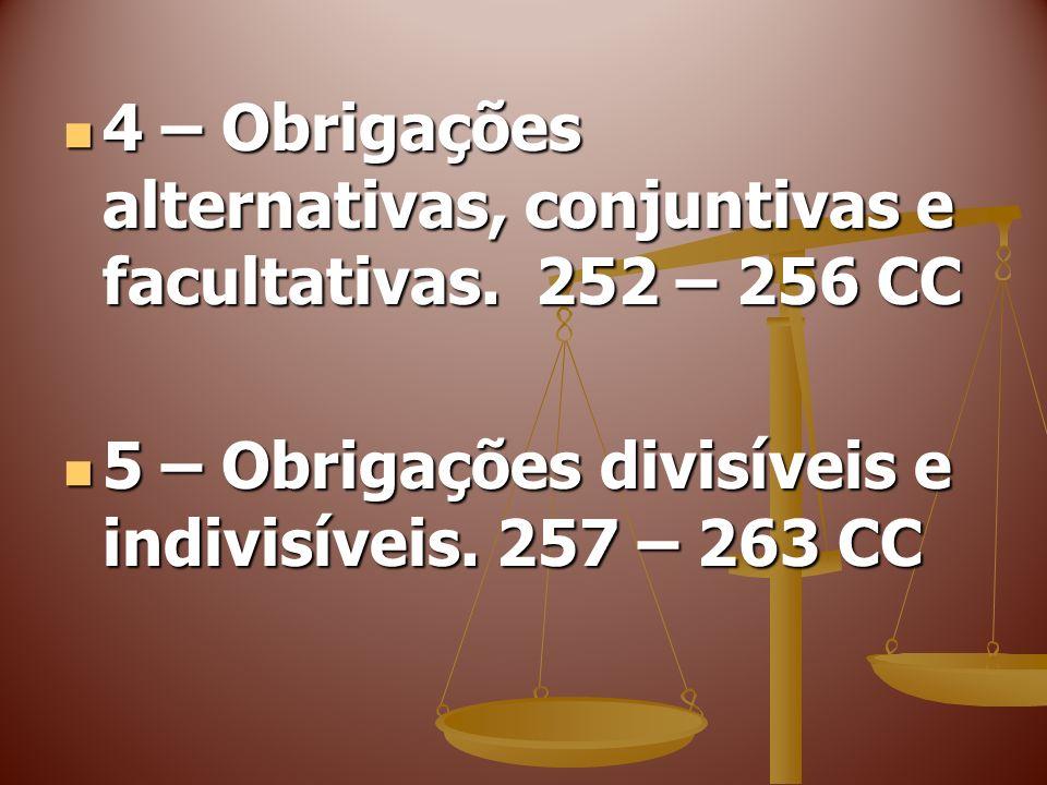 4 – Obrigações alternativas, conjuntivas e facultativas. 252 – 256 CC