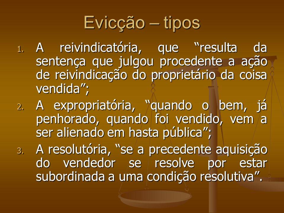 Evicção – tiposA reivindicatória, que resulta da sentença que julgou procedente a ação de reivindicação do proprietário da coisa vendida ;