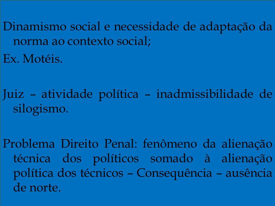 Dinamismo social e necessidade de adaptação da norma ao contexto social; Ex.