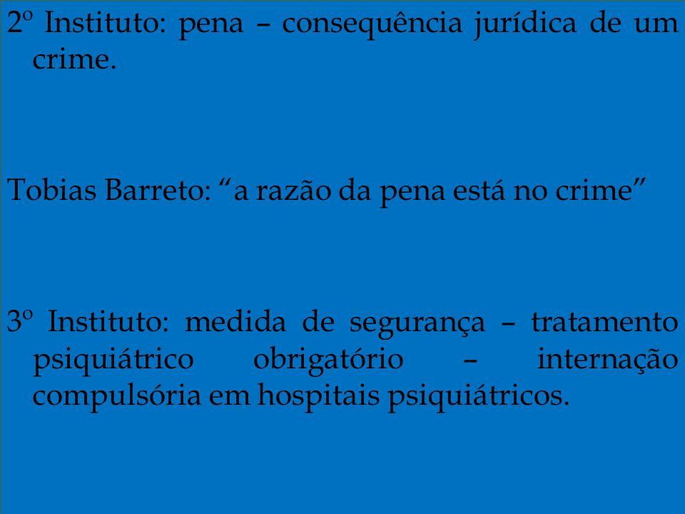 2º Instituto: pena – consequência jurídica de um crime
