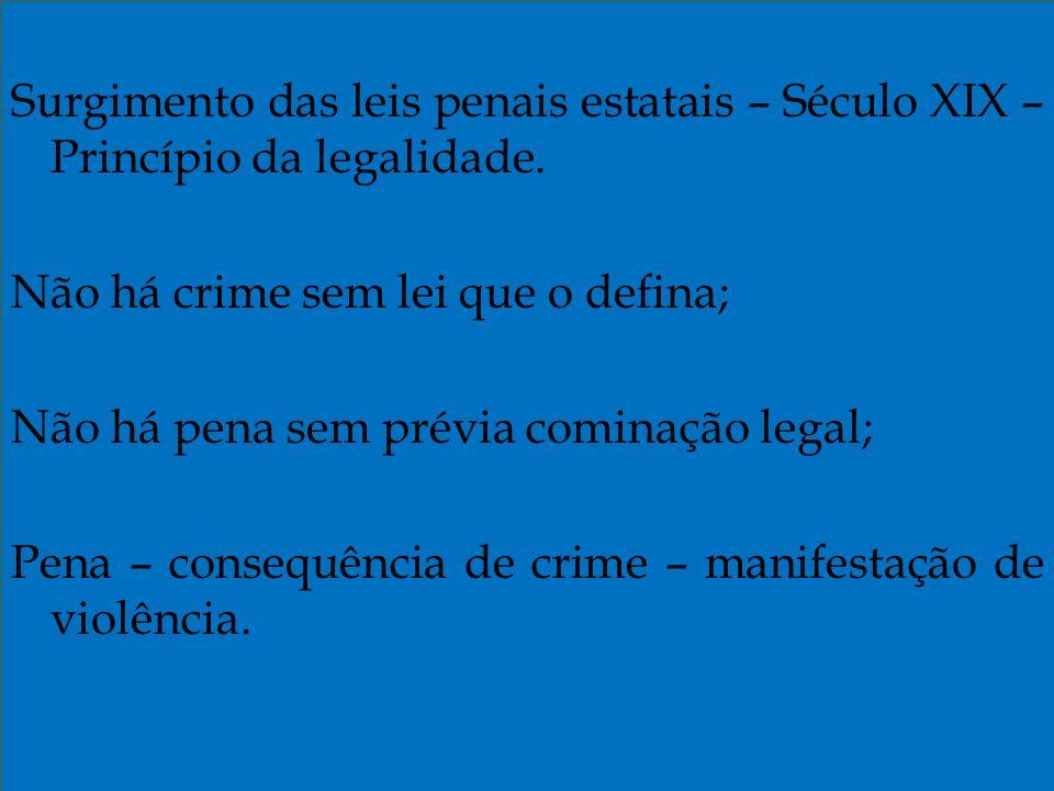 Surgimento das leis penais estatais – Século XIX – Princípio da legalidade.