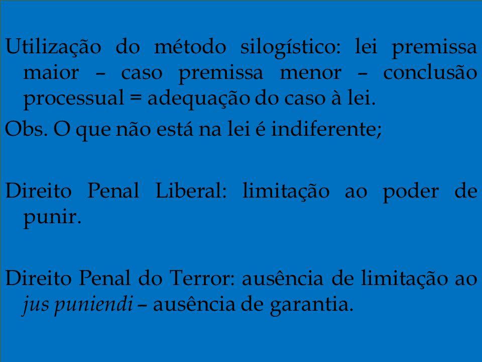 Utilização do método silogístico: lei premissa maior – caso premissa menor – conclusão processual = adequação do caso à lei.