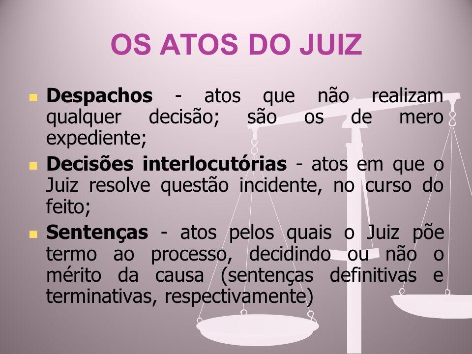 OS ATOS DO JUIZ Despachos - atos que não realizam qualquer decisão; são os de mero expediente;