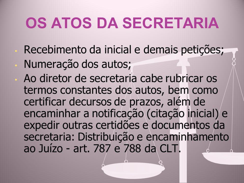 OS ATOS DA SECRETARIA Recebimento da inicial e demais petições;