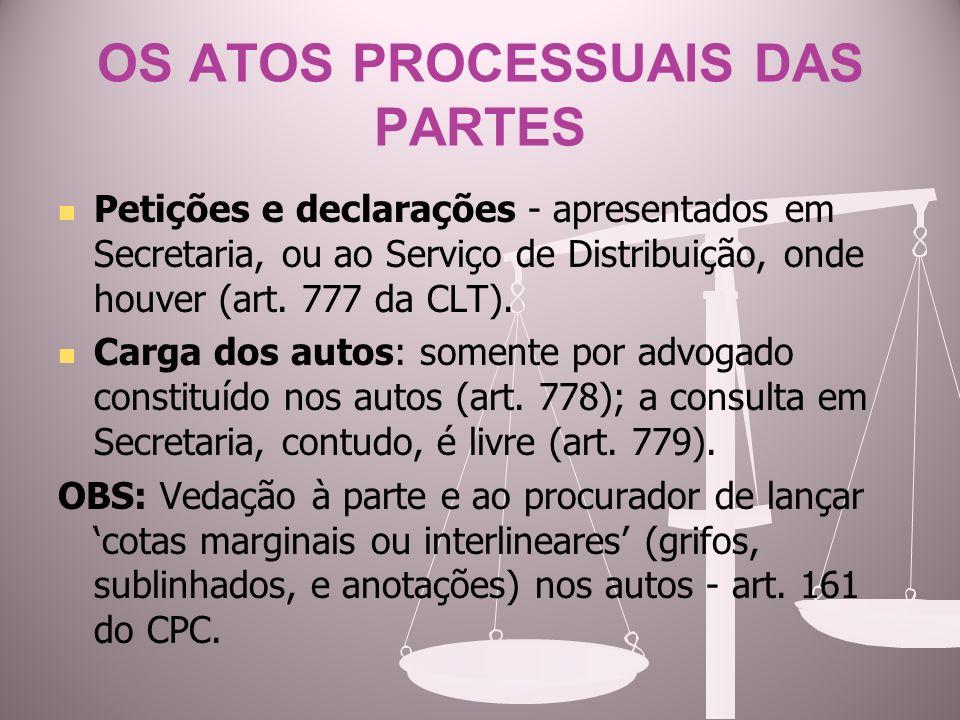 OS ATOS PROCESSUAIS DAS PARTES