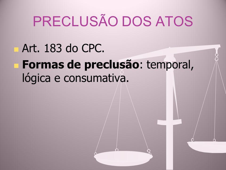PRECLUSÃO DOS ATOS Art. 183 do CPC.