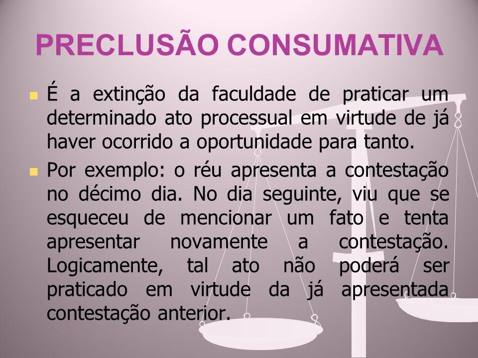 PRECLUSÃO CONSUMATIVA