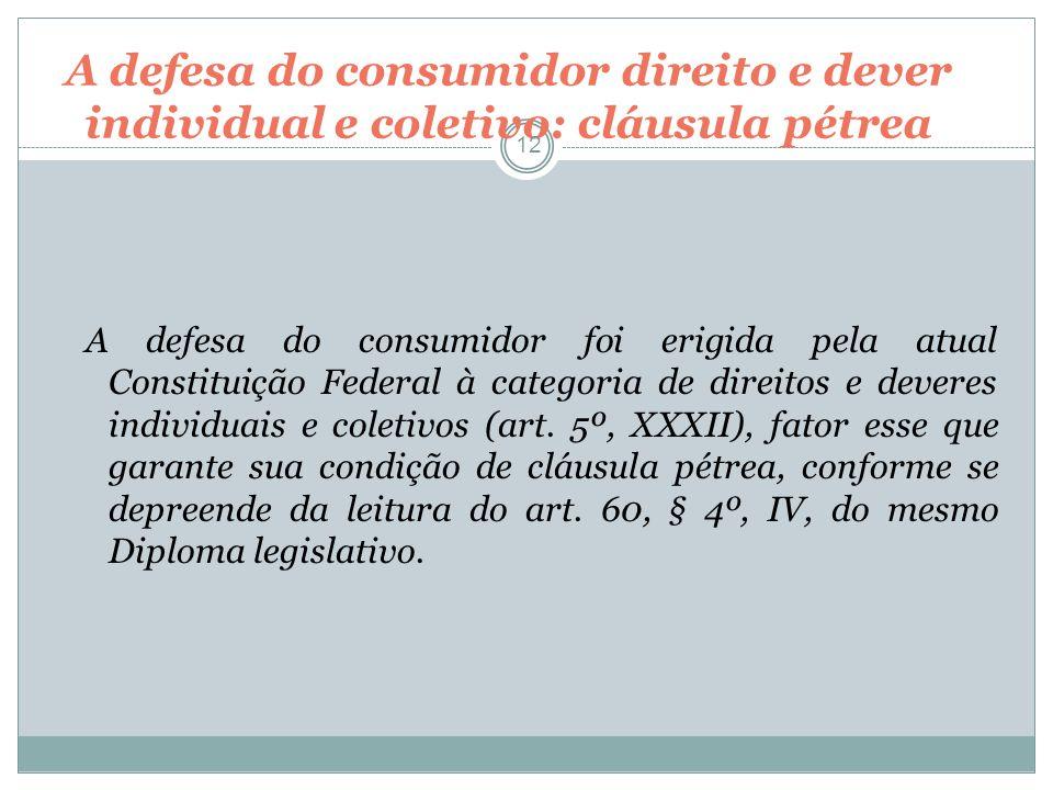 A defesa do consumidor direito e dever individual e coletivo: cláusula pétrea